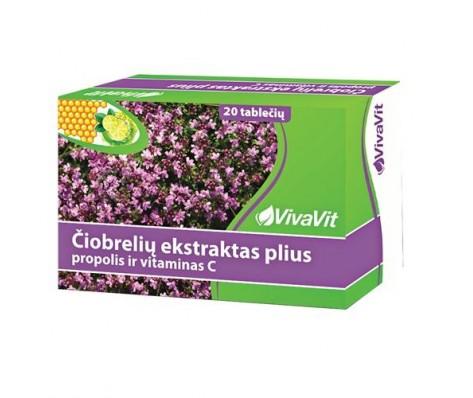 Čiobrelių ekstraktas plius propolis ir vitaminas C VIVAVIT, 20 tabl.