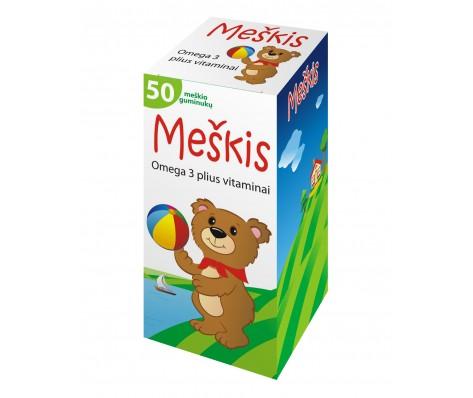 Omega-3 plius vitaminai MEŠKIS, 50 guminukų