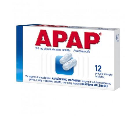 APAP 500 mg,plėvele dengtos 12 tabl.