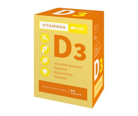 Vitaminas D3 1000TV VIVAVIT ,80 kapsulių