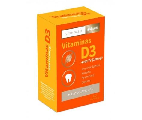 Vitaminas D3 4000TV VIVAVIT,60 kapsulių