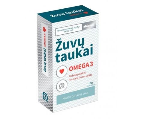 Žuvų taukai Omega 3 VivaVit, 60 kaps.