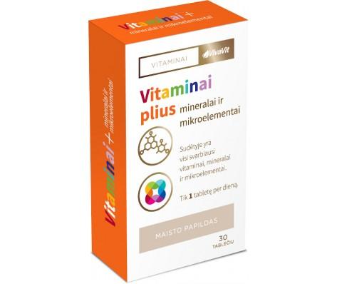 Vitaminai Plius Mineralai ir Mikroelementai VivaVit, 30tab.