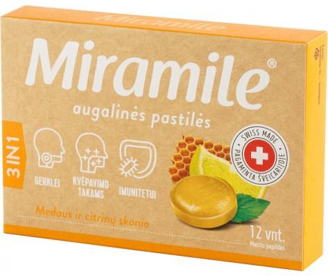 Miramile citrinų ir medaus skonio kietos pastilės ,12 past.