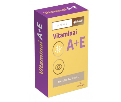 Vitaminai A + E VIVAVIT, 30kaps.